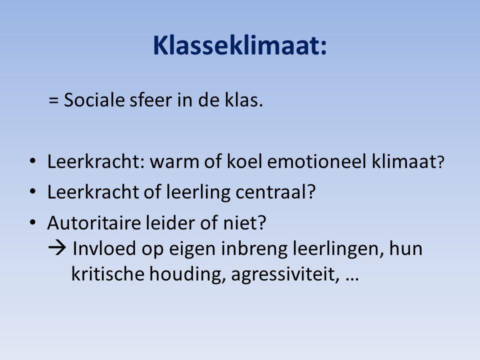 Klasseklimaat: = Sociale sfeer in de klas.