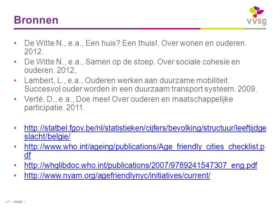 Bronnen De Witte N., e.a., Een huis Een thuis!. Over wonen en ouderen. 2012.