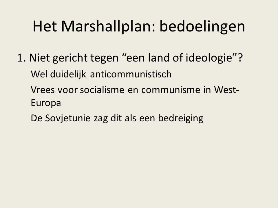 Het Marshallplan: bedoelingen