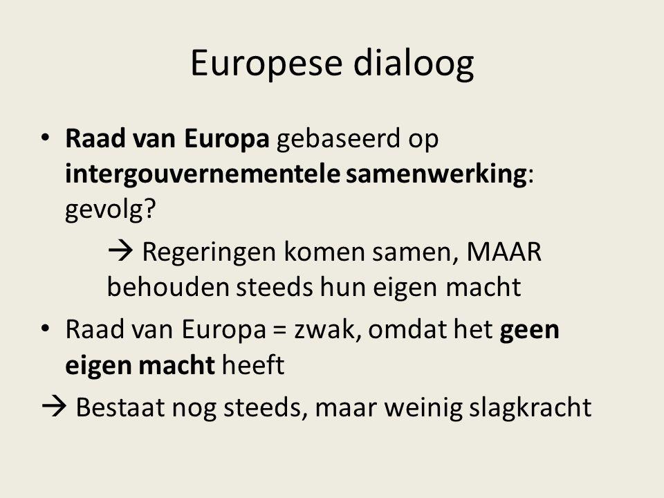 Europese dialoog Raad van Europa gebaseerd op intergouvernementele samenwerking: gevolg