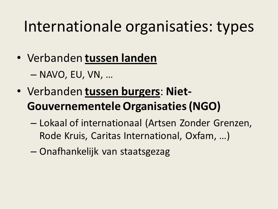 Internationale organisaties: types