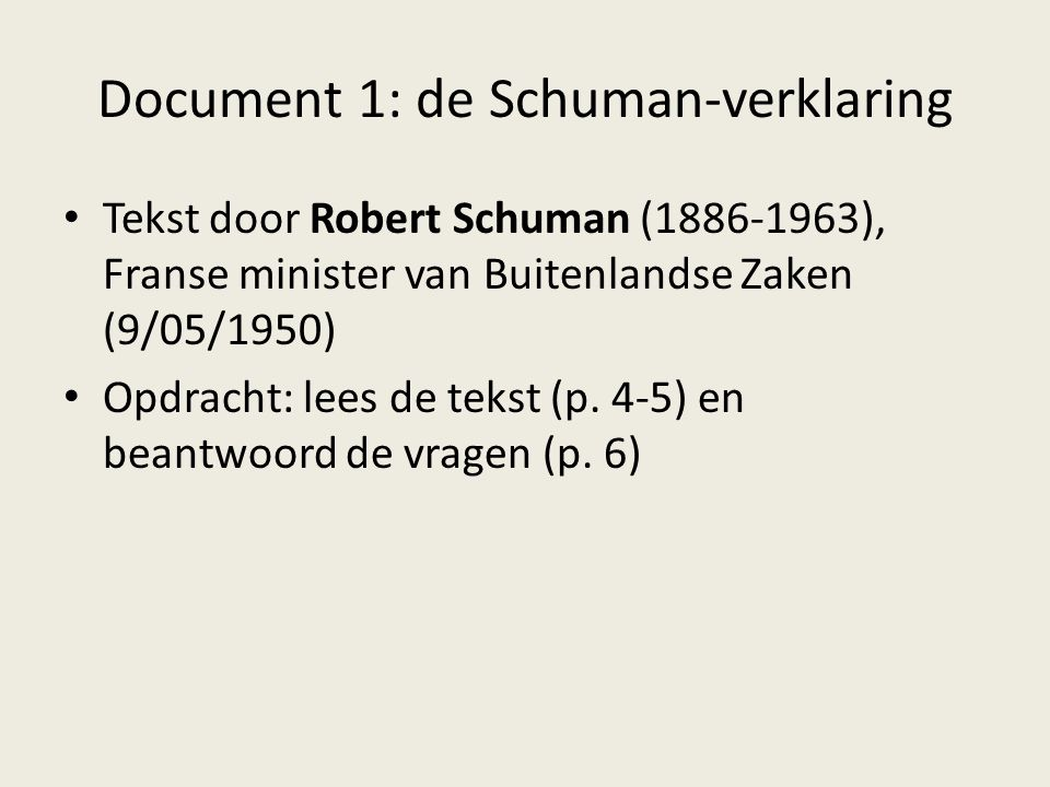 Document 1: de Schuman-verklaring