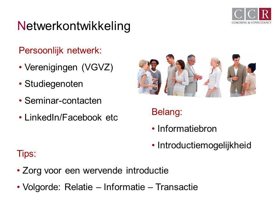 Netwerkontwikkeling Persoonlijk netwerk: Verenigingen (VGVZ)