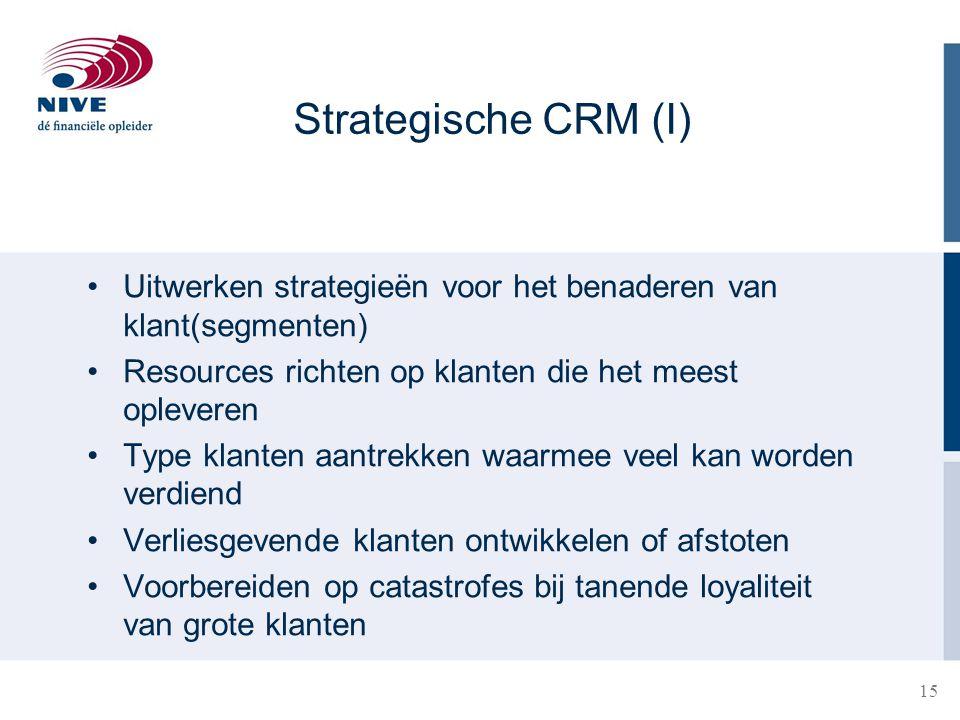 Strategische CRM (I) Uitwerken strategieën voor het benaderen van klant(segmenten) Resources richten op klanten die het meest opleveren.