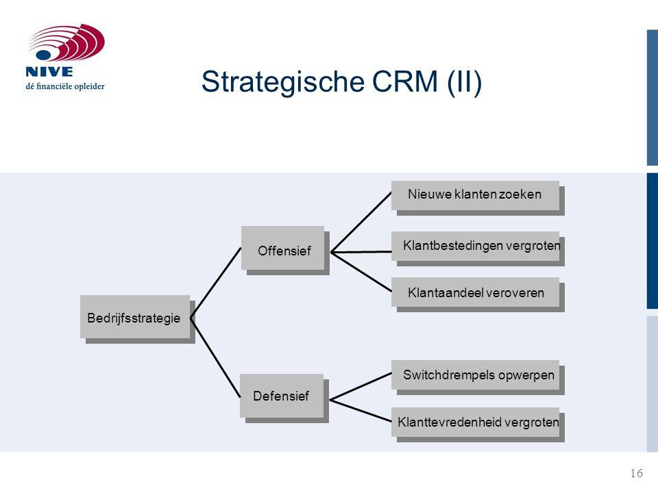 Strategische CRM (II) Nieuwe klanten zoeken Klantbestedingen vergroten
