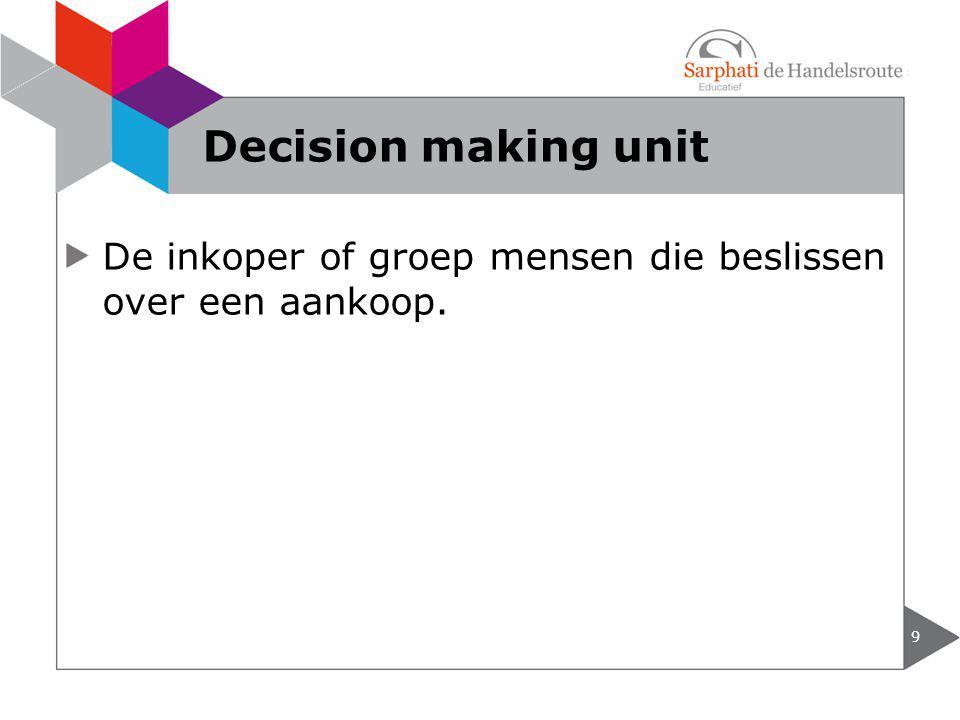 Decision making unit De inkoper of groep mensen die beslissen over een aankoop.