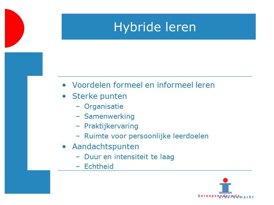 Hybride leren Voordelen formeel en informeel leren Sterke punten