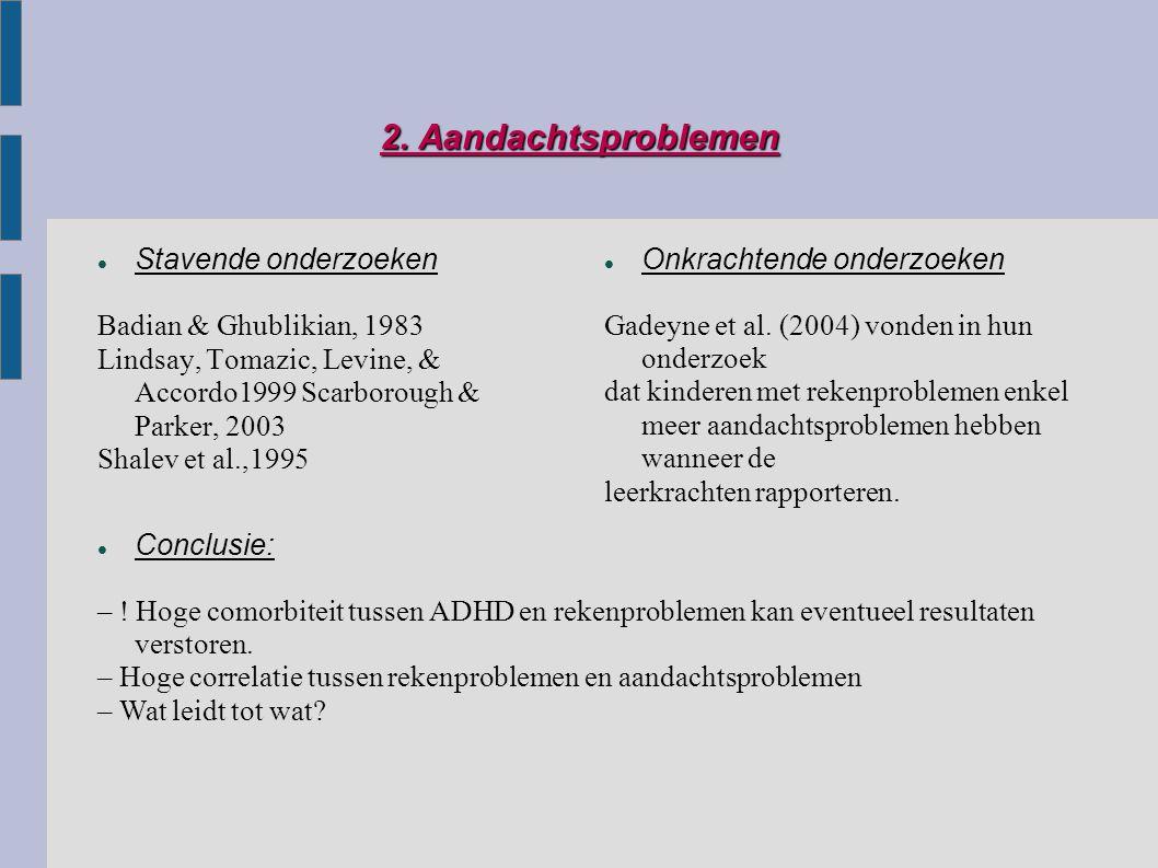 2. Aandachtsproblemen Stavende onderzoeken Badian & Ghublikian, 1983