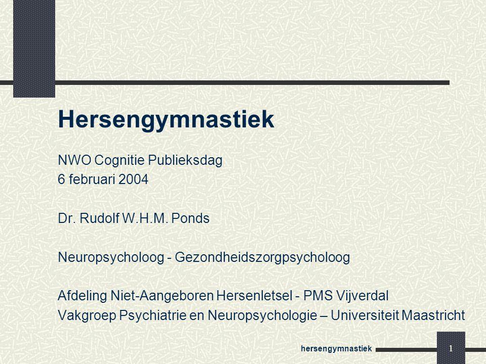 Hersengymnastiek NWO Cognitie Publieksdag 6 februari 2004
