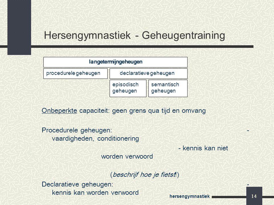 Hersengymnastiek - Geheugentraining