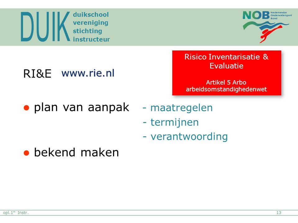 DUIK RI&E plan van aanpak - maatregelen bekend maken www.rie.nl
