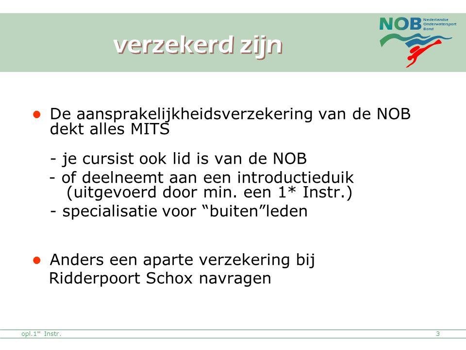verzekerd zijn De aansprakelijkheidsverzekering van de NOB dekt alles MITS - je cursist ook lid is van de NOB.