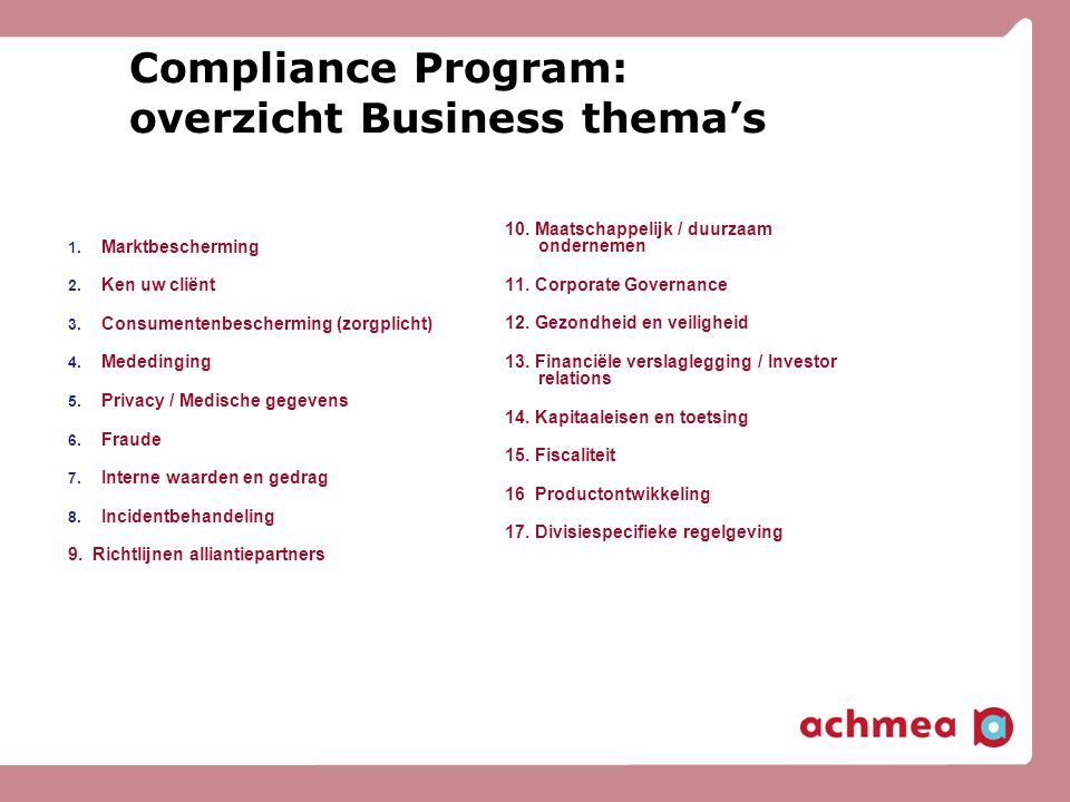 Compliance Program: overzicht Business thema's
