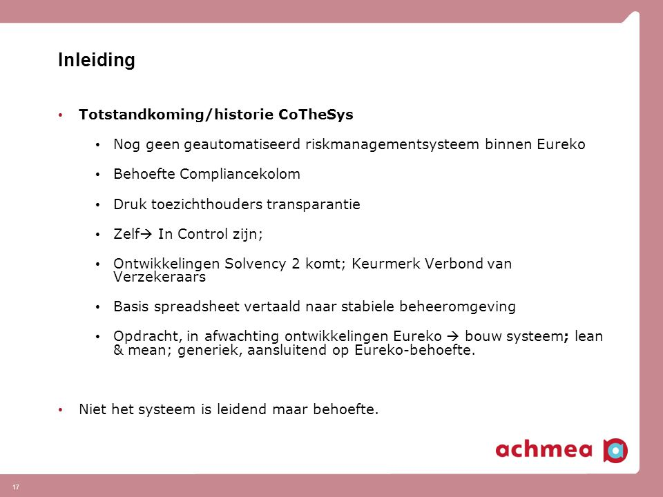 Inleiding Totstandkoming/historie CoTheSys