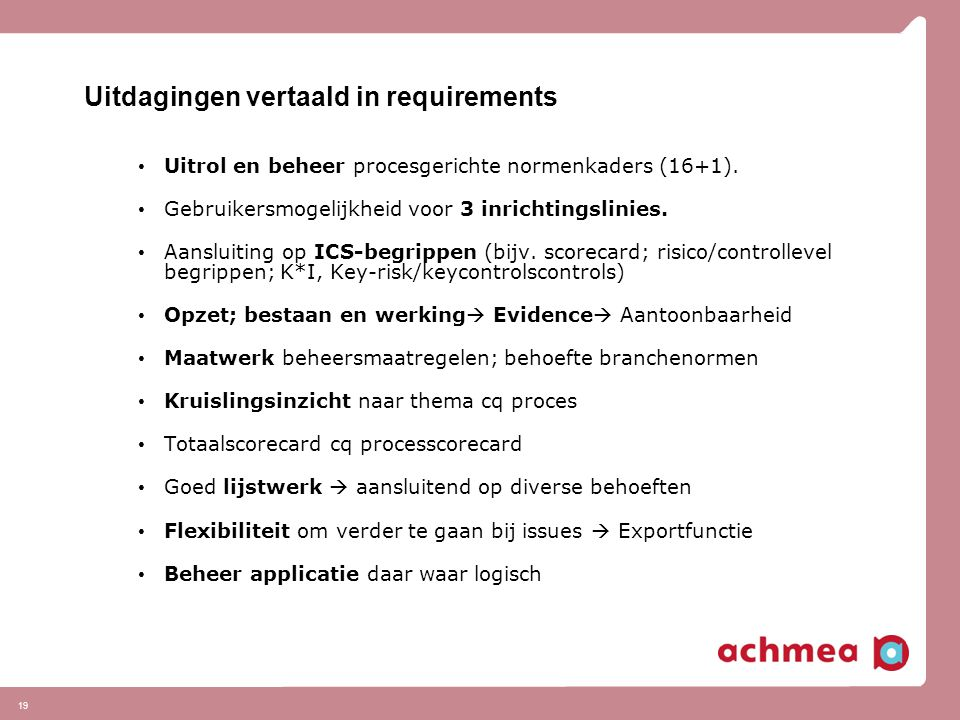 Uitdagingen vertaald in requirements