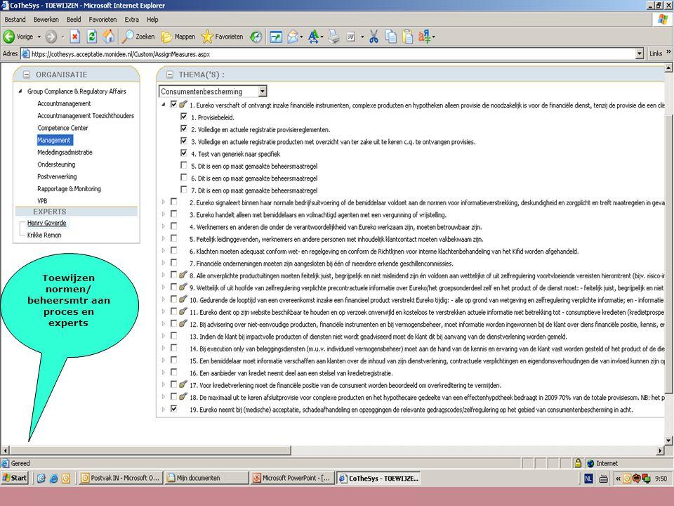 Toewijzen normen/ beheersmtr aan proces en experts