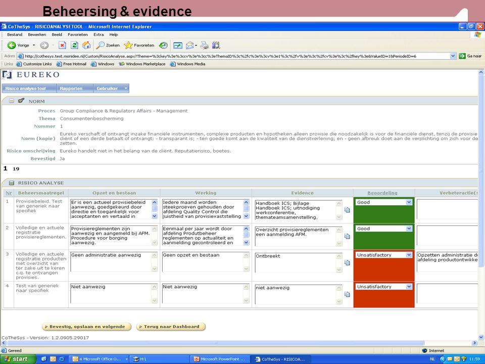 Beheersing & evidence