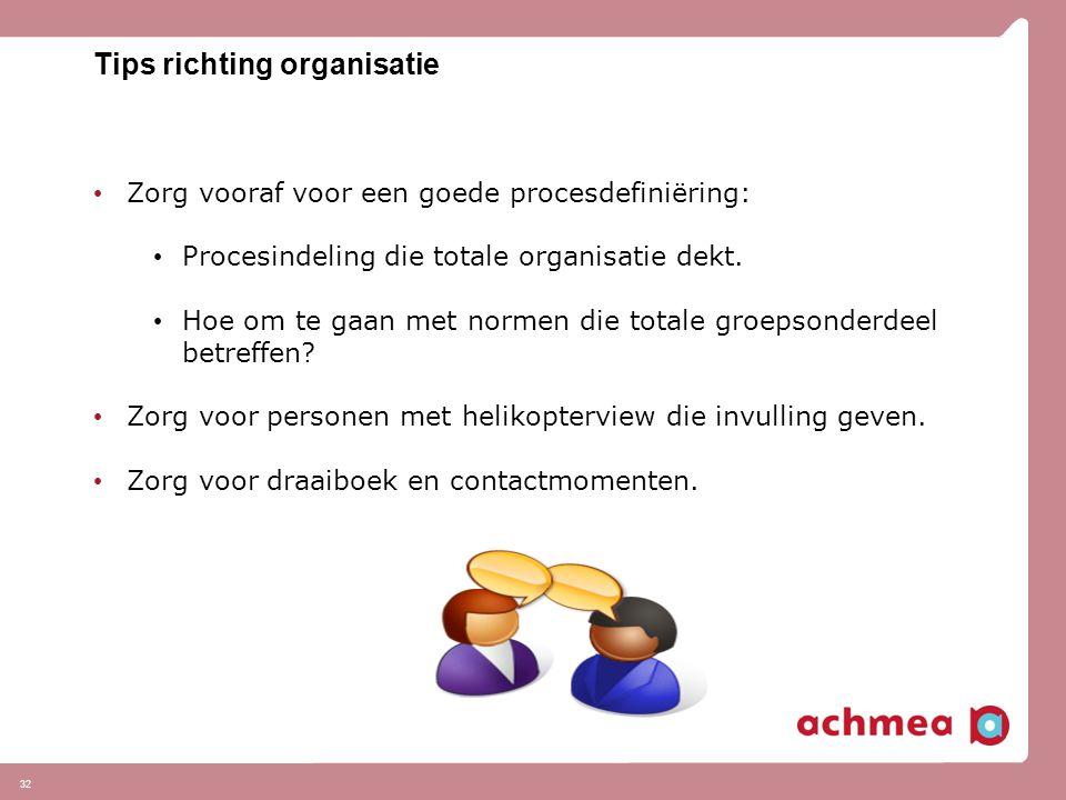 Tips richting organisatie