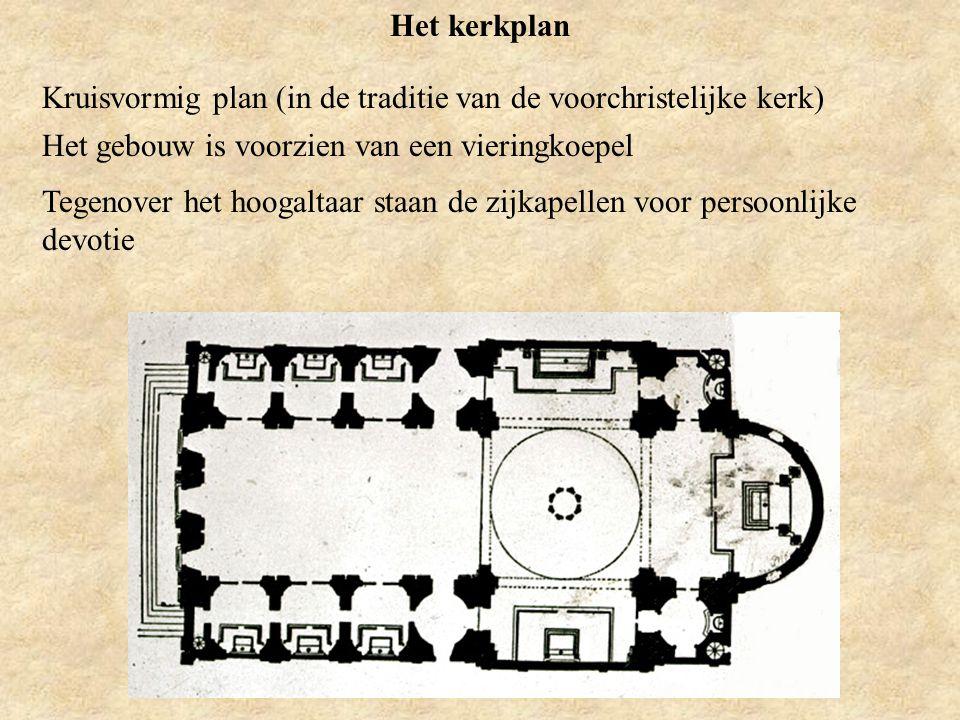 Het kerkplan Kruisvormig plan (in de traditie van de voorchristelijke kerk) Het gebouw is voorzien van een vieringkoepel.