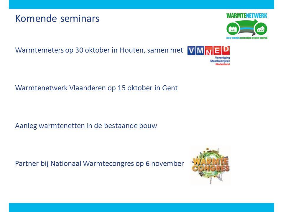 Komende seminars Warmtemeters op 30 oktober in Houten, samen met