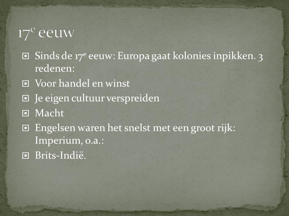 17e eeuw Sinds de 17e eeuw: Europa gaat kolonies inpikken. 3 redenen: