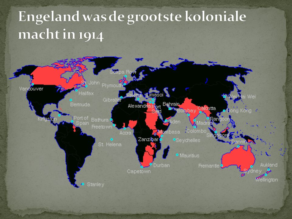 Engeland was de grootste koloniale macht in 1914