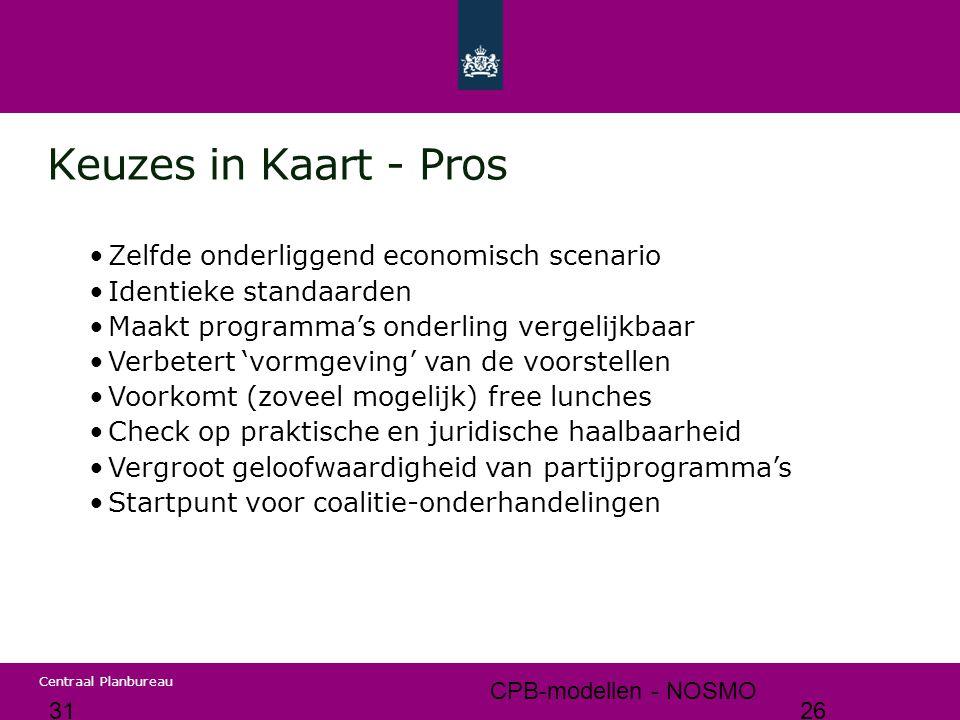 Keuzes in Kaart - Pros Zelfde onderliggend economisch scenario