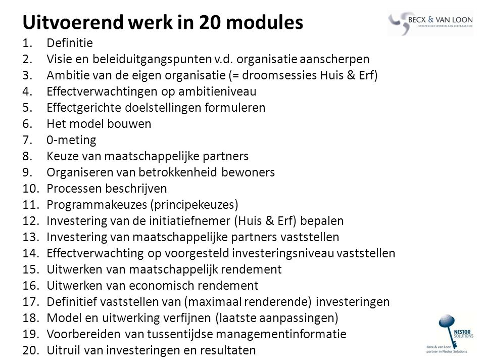 Uitvoerend werk in 20 modules