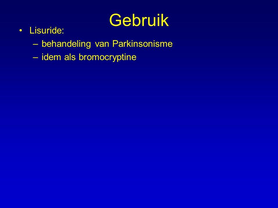 Gebruik Lisuride: behandeling van Parkinsonisme idem als bromocryptine