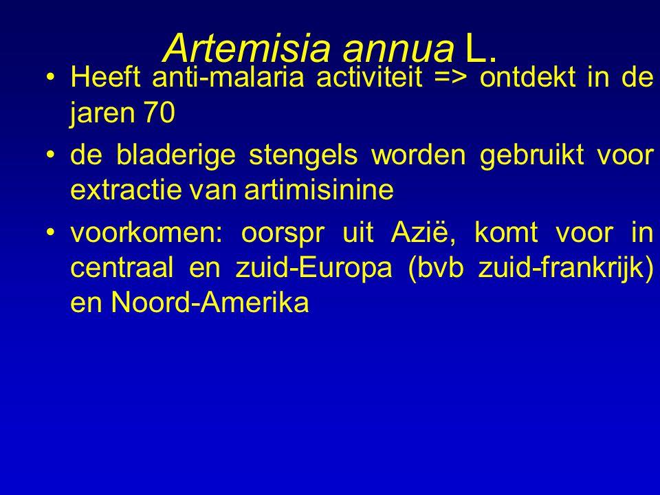 Artemisia annua L. Heeft anti-malaria activiteit => ontdekt in de jaren 70. de bladerige stengels worden gebruikt voor extractie van artimisinine.