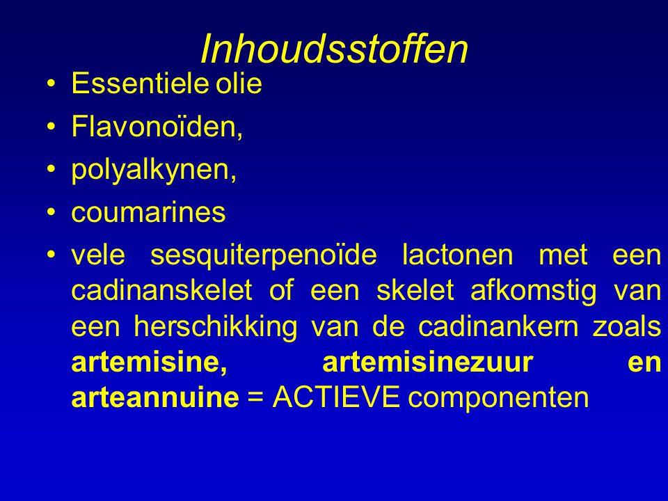 Inhoudsstoffen Essentiele olie Flavonoïden, polyalkynen, coumarines