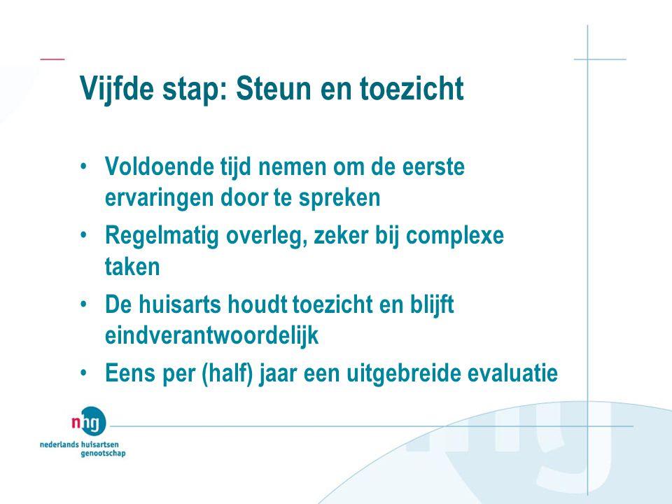 Vijfde stap: Steun en toezicht