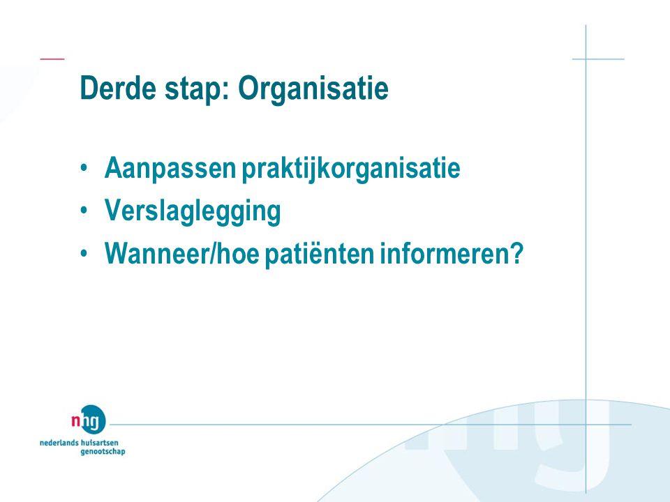 Derde stap: Organisatie