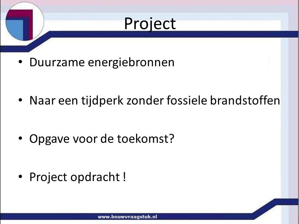 Project Duurzame energiebronnen