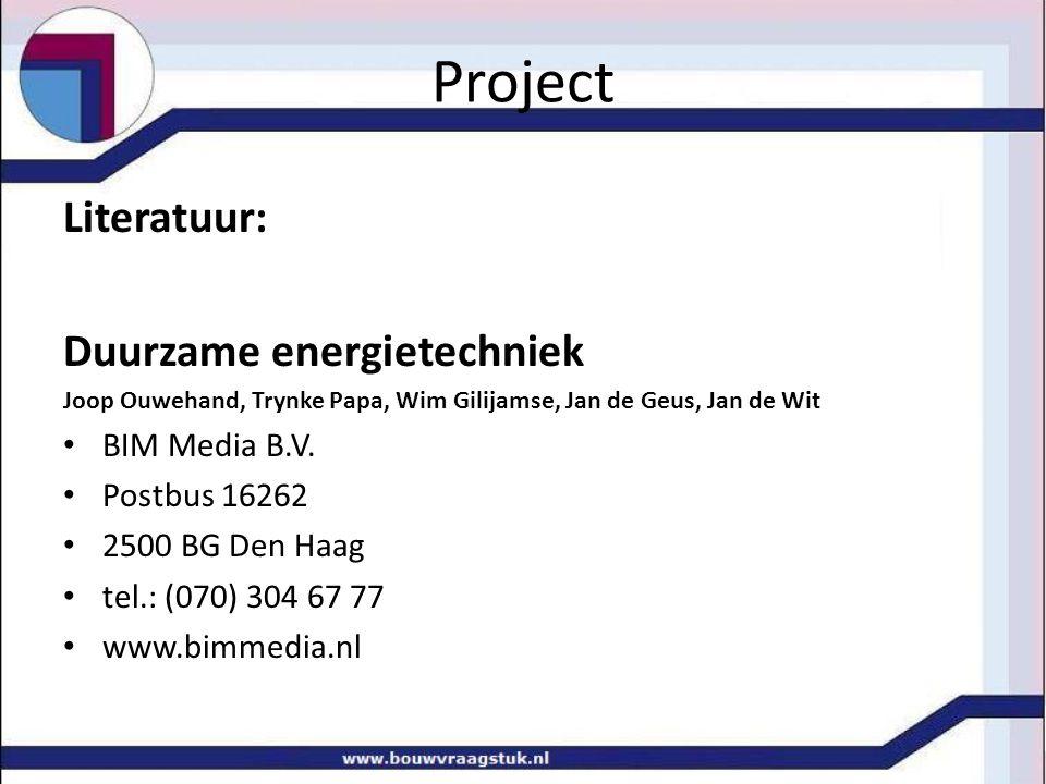 Project Literatuur: Duurzame energietechniek BIM Media B.V.
