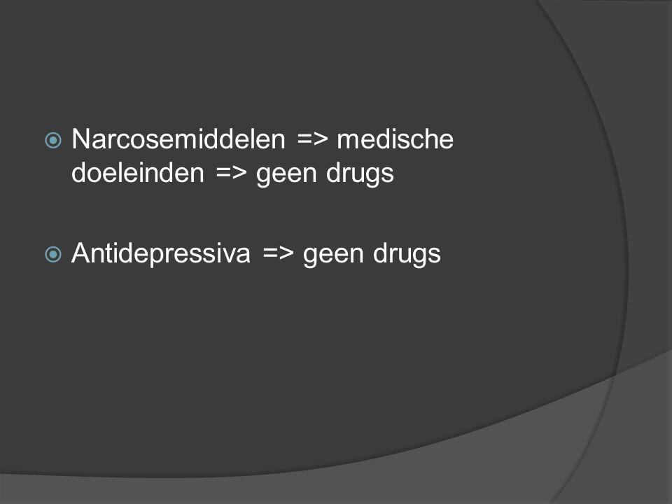 Narcosemiddelen => medische doeleinden => geen drugs
