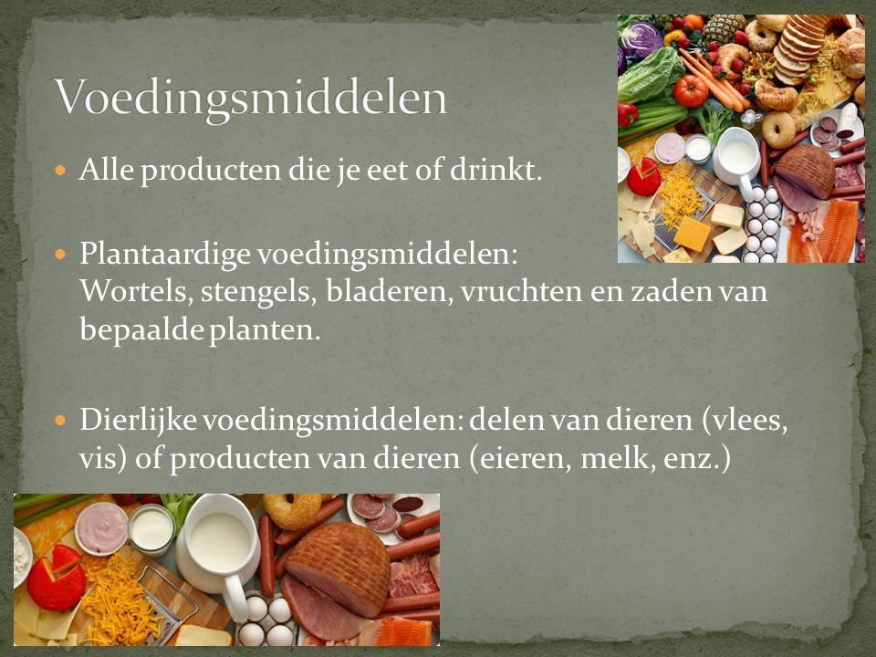 Voedingsmiddelen Alle producten die je eet of drinkt.
