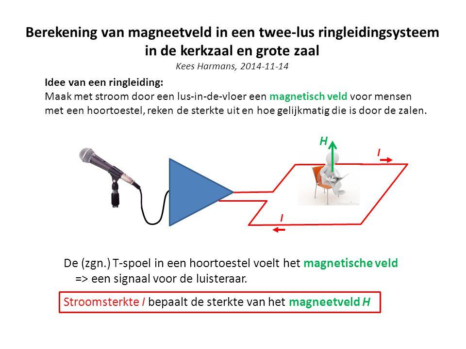 Berekening van magneetveld in een twee-lus ringleidingsysteem