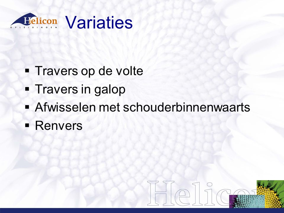 Variaties Travers op de volte Travers in galop