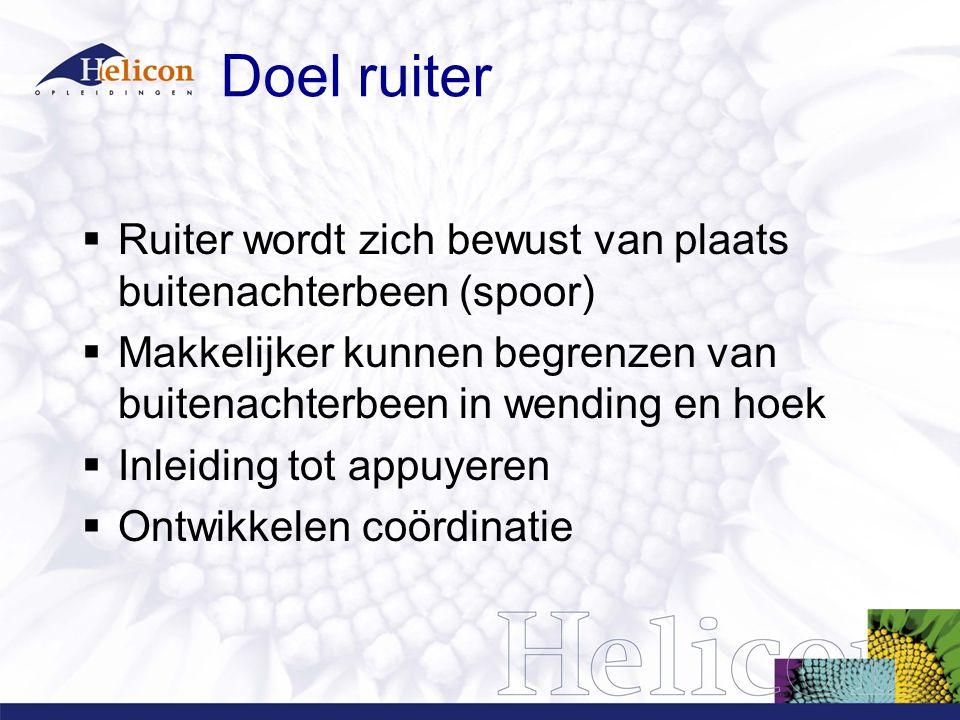 Doel ruiter Ruiter wordt zich bewust van plaats buitenachterbeen (spoor) Makkelijker kunnen begrenzen van buitenachterbeen in wending en hoek.