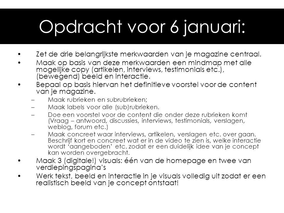 Opdracht voor 6 januari: