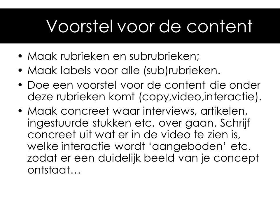 4. Voorstel voor de content