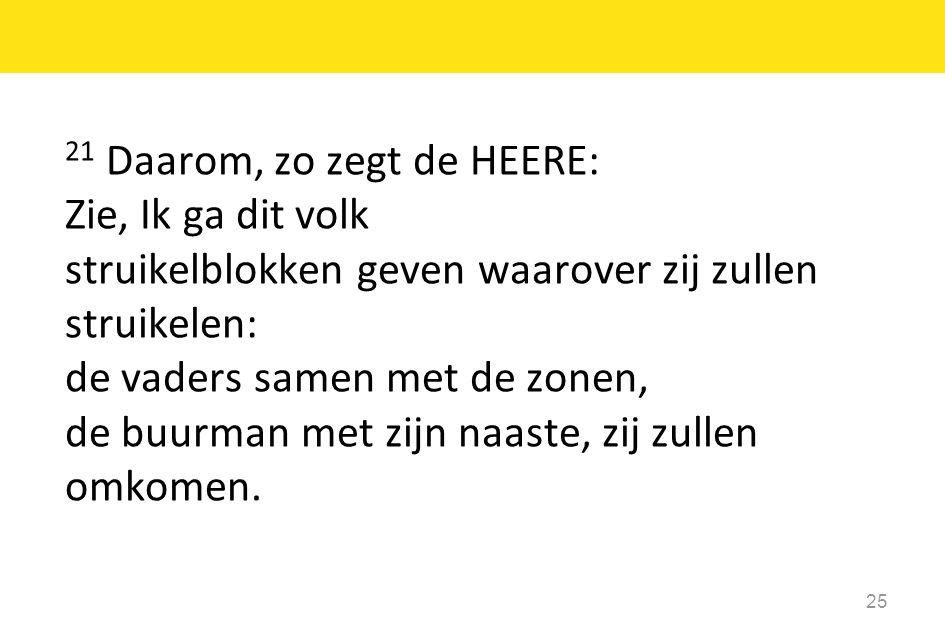 21 Daarom, zo zegt de HEERE: