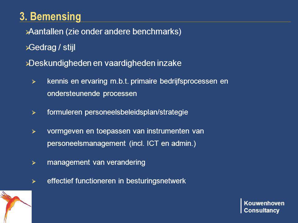 3. Bemensing Aantallen (zie onder andere benchmarks) Gedrag / stijl
