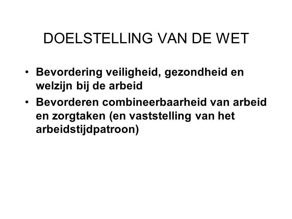 DOELSTELLING VAN DE WET