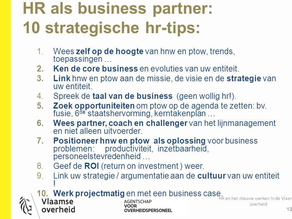 HR als business partner: 10 strategische hr-tips: