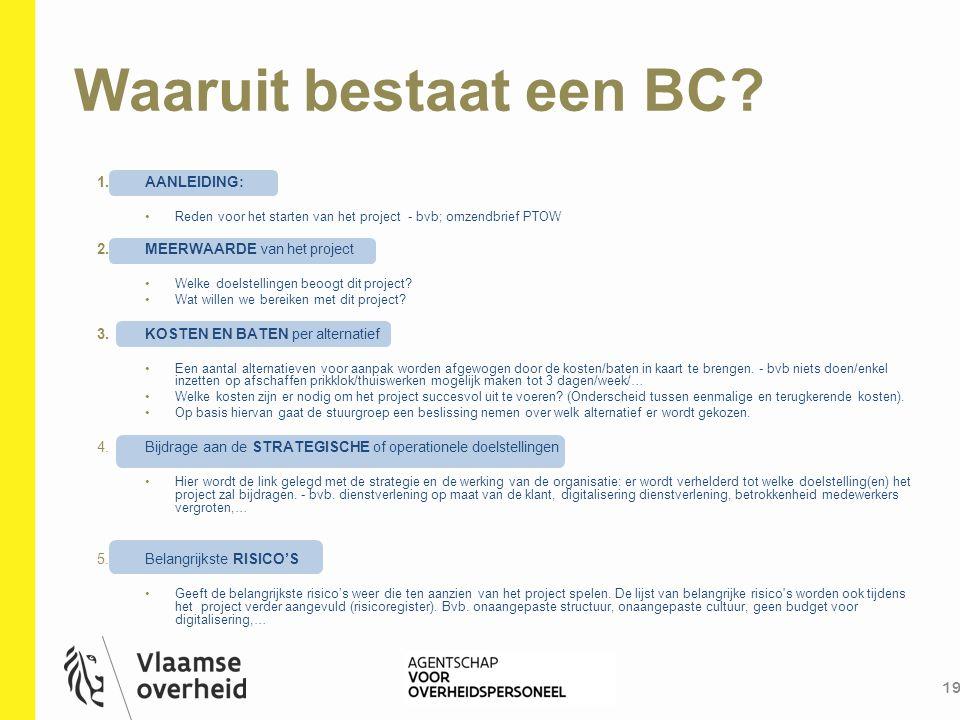 Waaruit bestaat een BC AANLEIDING: MEERWAARDE van het project