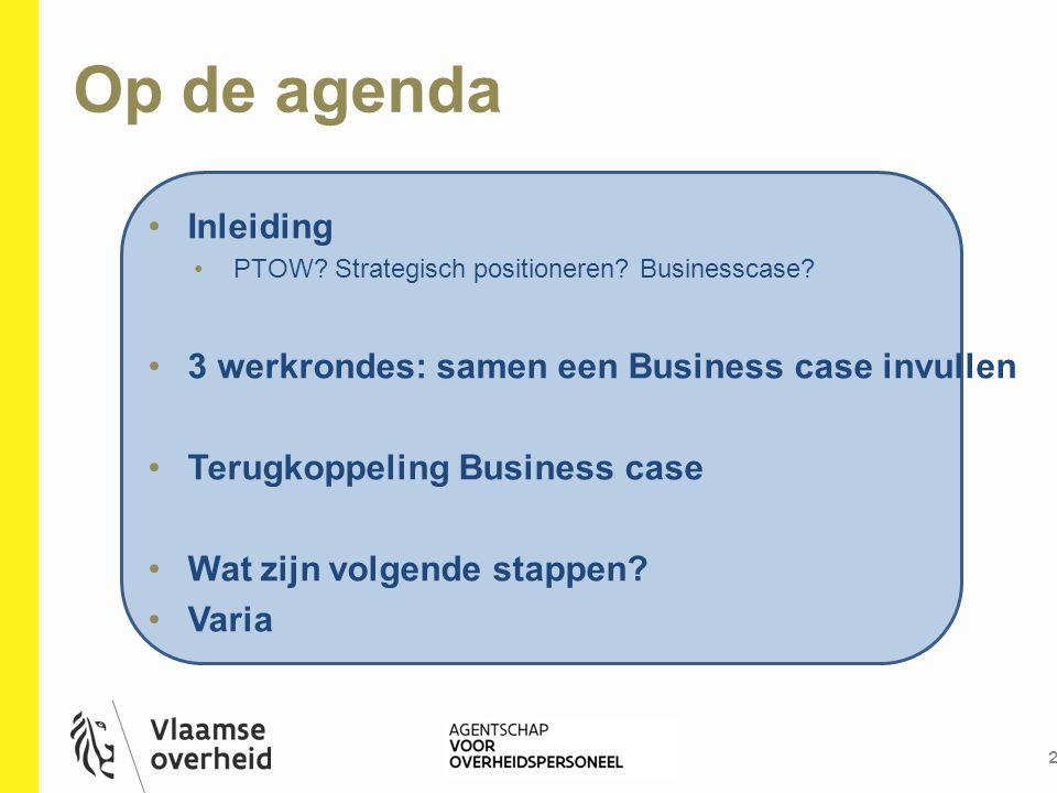 Op de agenda Inleiding 3 werkrondes: samen een Business case invullen