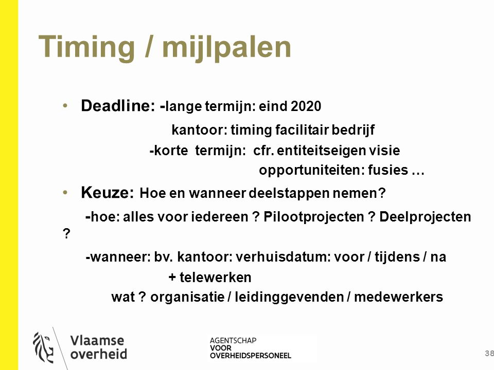Timing / mijlpalen Deadline: -lange termijn: eind 2020