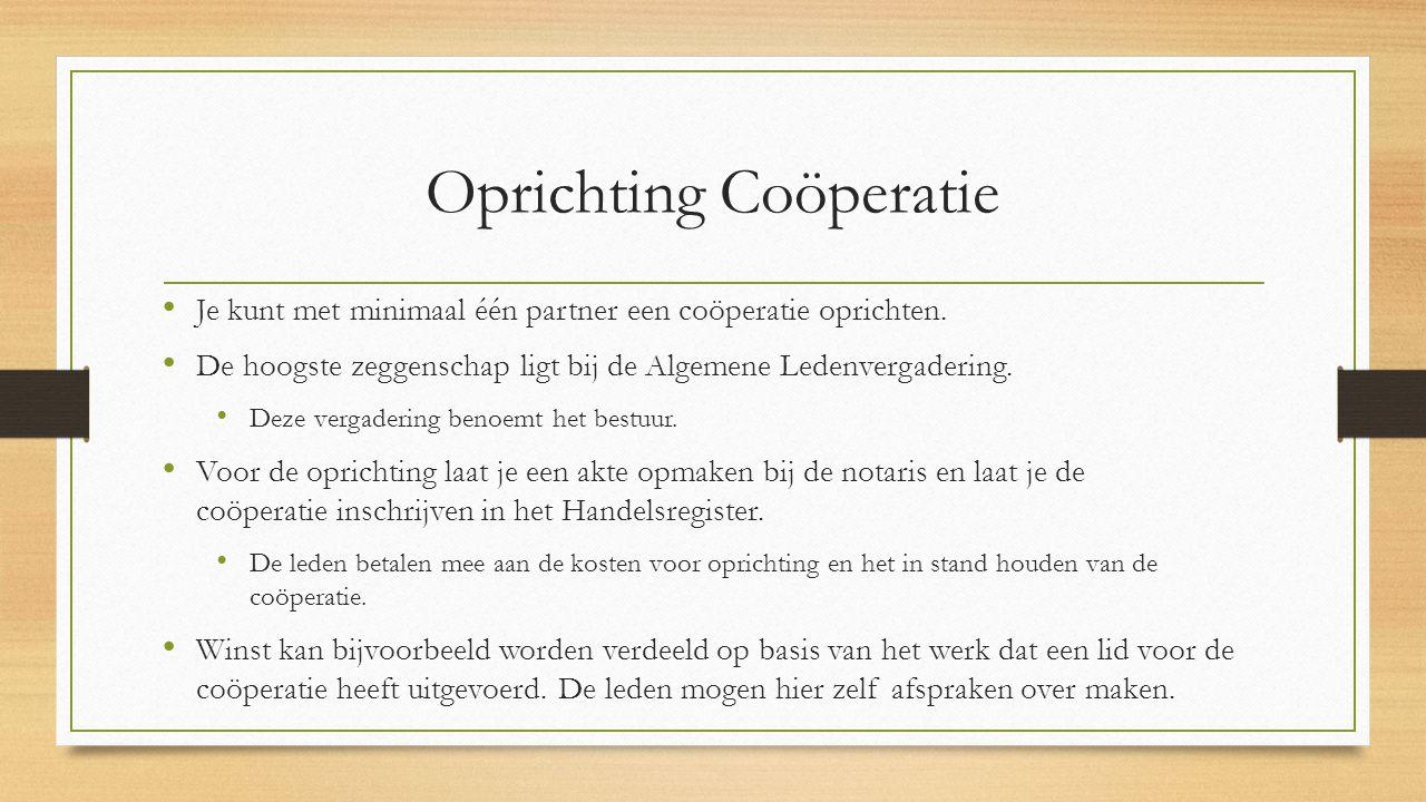 Oprichting Coöperatie
